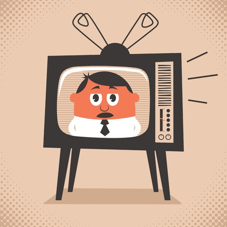 people watching tv: Cartoon illustration of retro television set broadcasting the news. No transparency and gradients used.