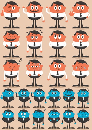 Retro businessman character in 12 different emotions and 24 versions.  Easy to change colors. No transparency and gradients used.  Vector