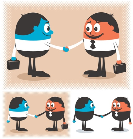Two cartoon characters handshaking. Below are 2 additional versions of the illustration.  No transparency and gradients used.    Illustration
