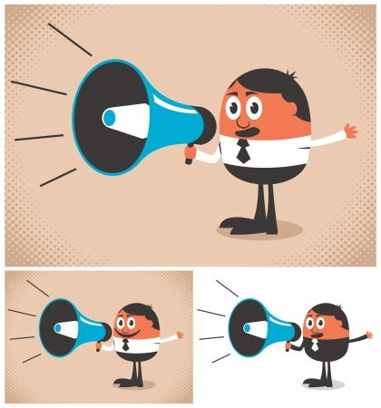 Man speaking in a megaphone. The illustration is in 3 versions. No transparency and gradients used.   Vector