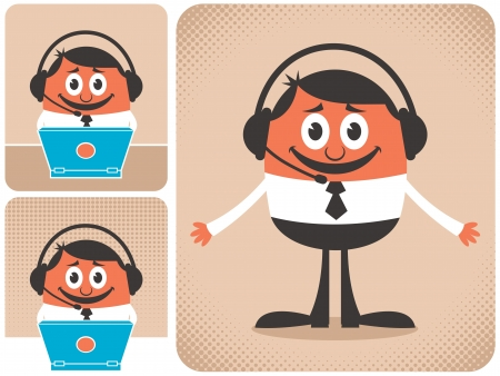 Technical support guy in 3 different versions.  No transparency and gradients used.   Vector