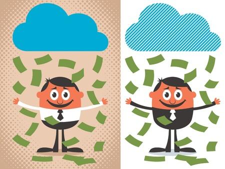 lloviendo: El dinero llueve en personaje de dibujos animados. La ilustración se encuentra en 2 versiones. Sin transparencia y gradientes utilizado.
