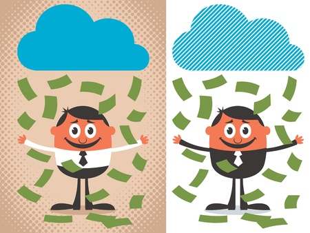 Money raining over cartoon character. The illustration is in 2 versions. No transparency and gradients used.  Vector