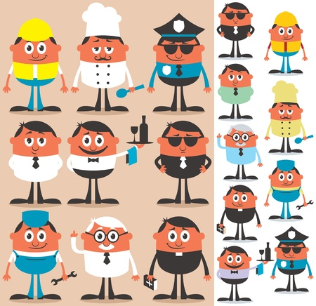 Set of cartoon characters of different occupations  No transparency and gradients used   Vector