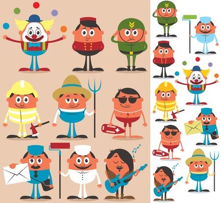 comandante: Set di personaggi dei cartoni animati di occupazioni diverse. No trasparenza e sfumature utilizzate.