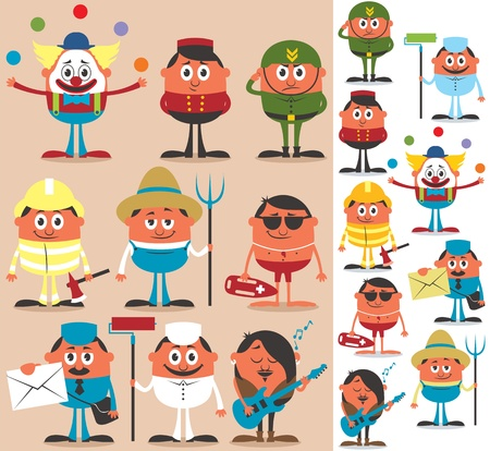 Set of cartoon characters of different occupations. No transparency and gradients used.  Vector