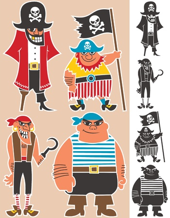 4 cartoon pirates.  No transparency and gradients used.  Vector