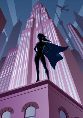 Super heroine watching over the city.  No transparency used. Basic (linear) gradients. A4 proportions.  Vector