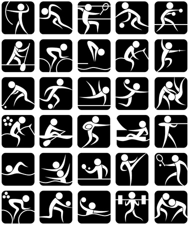 Set of 30 pictograms of summer sports. No transparency and gradients used. Illustration