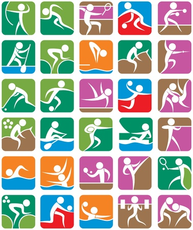 synchronized: Set of 30 pictograms of the summer sports. No transparency and gradients used.