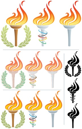 Stylized illustration of a flaming torch in 12 different versions. No transparency used. Basic (linear) gradients used in the first 3 torches.  Vector