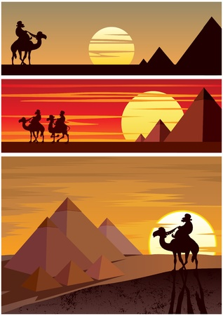 desert landscape: Set of 3 cartoon landscapes with the Egyptian Pyramids. No transparency used. Basic (linear) gradients.  Illustration