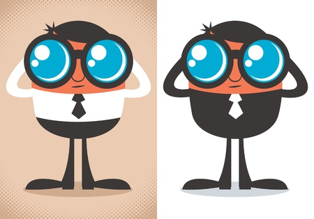 kijker: Stripfiguur kijken met een verrekijker. De illustratie is in 2 kleuren versies. Geen transparantie en gradiënten.