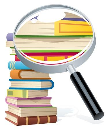 libro caricatura: Ilustración conceptual para la investigación. Sin transparencia utilizada. Básicas (lineal) gradientes. Vectores