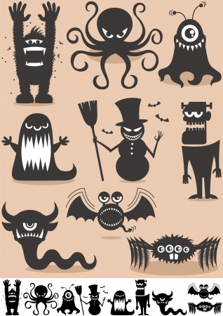 Set of 9 cartoon monsters  No transparency and gradients used   Vector