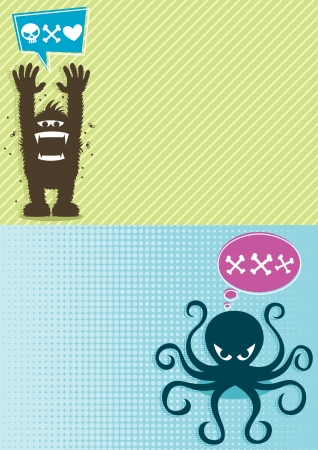 yeti: 2 horizontal backgrounds with cartoon monsters. A4 proportions.  No transparency and gradients used.