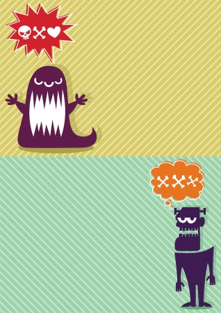 2 horizontal backgrounds with cartoon monsters. A4 proportions.  No transparency and gradients used.   Vector