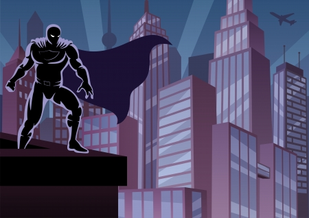 Superhero watching over the city.  No transparency used. Basic (linear) gradients. A4 proportions.  Vector