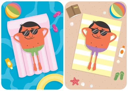 2 illustrations depicting a cartoon character on vacation. No transparency and gradients used.  Illustration