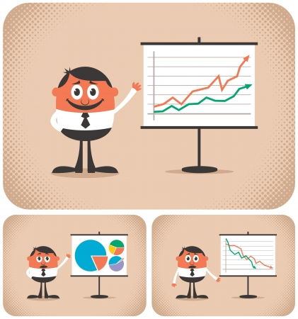 Cartoon character making a presentation. The illustration is in 3 versions. You can replace the chart with your own message.  No transparency and gradients used.  Vector