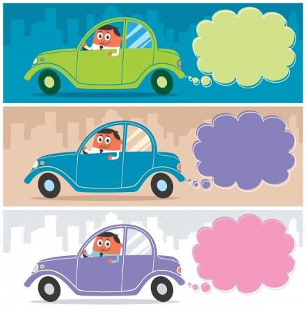 seguros autos: Personaje de dibujos animados al volante de su coche. Utilice el humo como un espacio de la copia de su mensaje. La ilustraci�n es en 3 versiones. El tama�o de cada bandera est� en proporci�n de 1:3. Sin transparencia y gradientes utilizado. Vectores