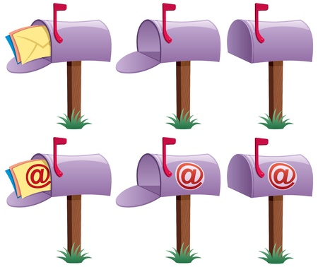 Cartoon illustration of mailbox in 6 versions. 3 of them are conceptual illustrations for e-mail. No transparency used. Basic (linear) gradients. Stock Vector - 14004165