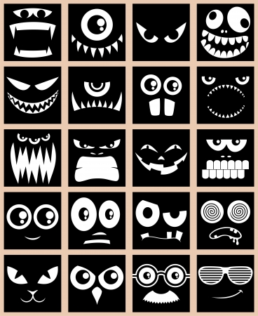 Set of 20 avatars in black and white.