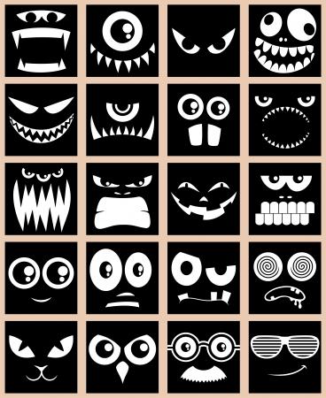 yeti: Set of 20 avatars in black and white.