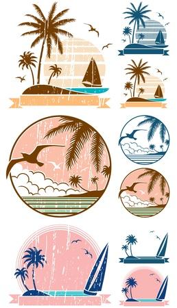yacht isolated: Juego de 3 s�mbolos de playa + 6 versiones adicionales (2 por cada s�mbolo). Sin transparencia y gradientes utilizado.