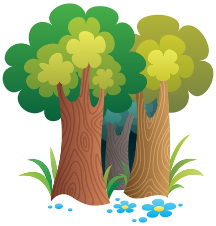 forest cartoon: Cartoon forest.  No transparency used. Basic (linear) gradients.  Illustration