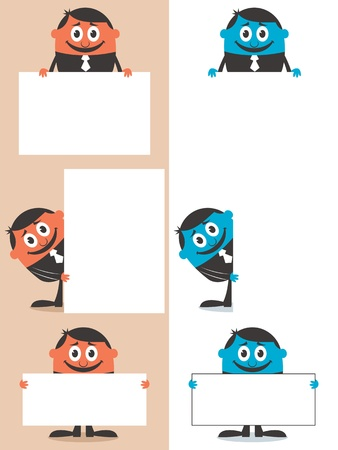 Set of cartoon illustrations of a businessman behind sign with copy space. No transparency and gradients used.  Vector