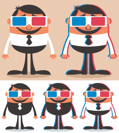 watching movie: Cartoon character with 3D glasses. No transparency and gradients used.  Illustration