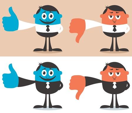 Personaje de dibujos animados con su dedo pulgar hacia arriba y hacia abajo. Sin transparencia y gradientes utilizado. Ilustración de vector