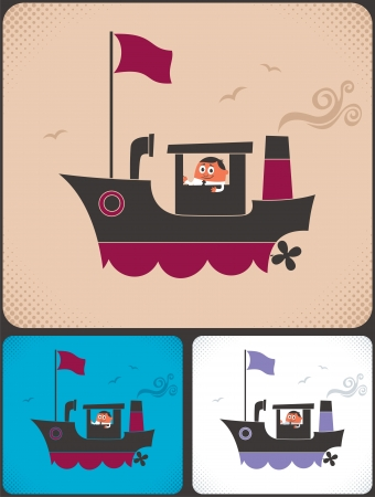 Cartoon ship and its captain.  No transparency and gradients used.  Vector