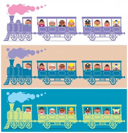 locomotora: El vapor llena de personajes de dibujos animados de tren. Es en 3 versiones de color. Sin transparencia y gradientes utilizado.