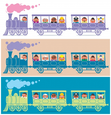 locomotive: Steam train full of cartoon characters. It is in 3 color versions.  No transparency and gradients used.