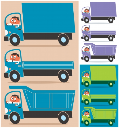 Cartoon character driving 3 types of trucks. Each truck is in 3 color versions. No transparency and gradients used.  Vector
