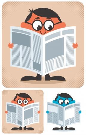 Man het lezen van kranten. Geen transparantie en gradiënten. Vector Illustratie