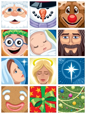 Set of 12 Christmas avatars. No transparency and gradients used.  Vector