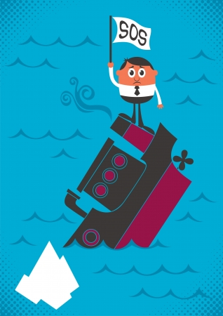 Man, sinking with his ship. No transparency and gradients used.  Stock Vector - 14623219