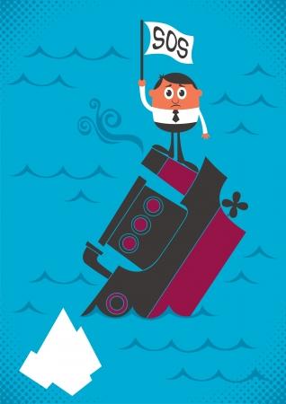 calamiteit: Man, zinken met zijn schip. Geen transparantie en gradiënten. Stock Illustratie