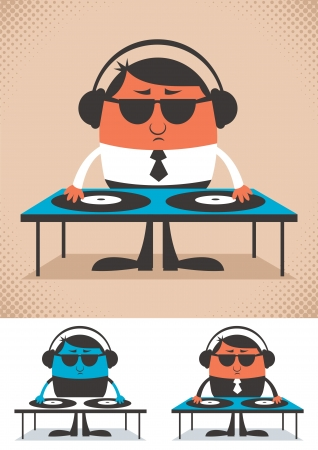 Illustration of cartoon DJ. No transparency and gradients used.   Vector