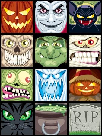 Set of 12 Halloween square avatars.