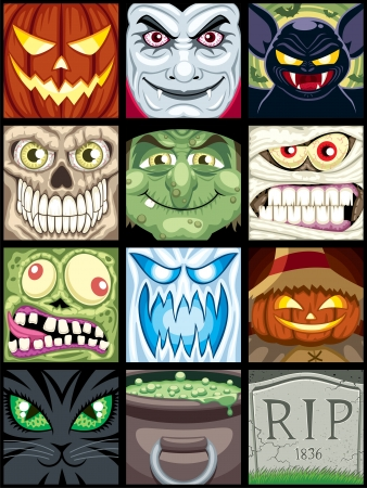 Set of 12 Halloween square avatars.  Vector