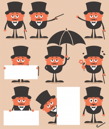 sir: Retro gentleman in different situations. No transparency and gradients used.  Illustration