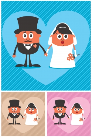 Cartoon illustration of groom and bride. No transparency and gradients used.  Stock Vector - 14827619