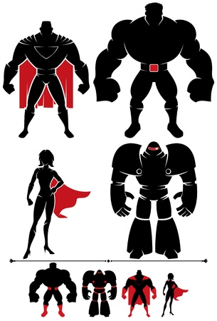 4 different superhero silhouettes in 2 versions each.  Vector