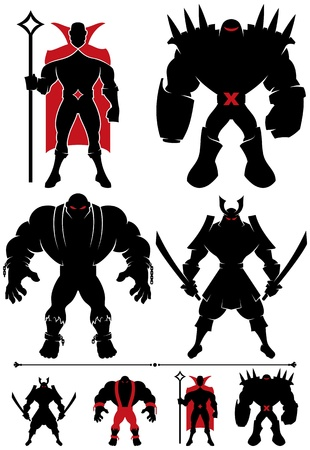 villain: 4 different supervillain silhouettes in 2 versions each.  Illustration