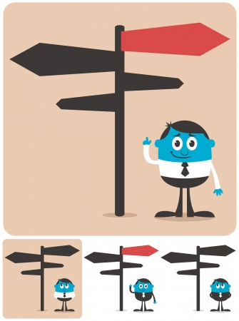 crossroads sign: Conceptual illustration for choice and directions. It is in 4 different versions.
