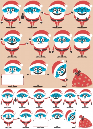 Cartoon Santa (in 11 different poses) and his sack. Below are the same illustrations adjusted for white background. Stock Vector - 15424487